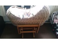 Mothercare moses basket & gliding stand