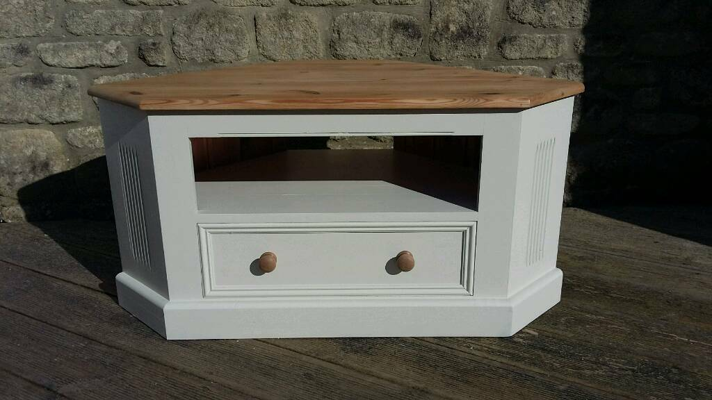 Solid Pine Corner Tv Cabinet Unit Painted In Farrow Ball Off White Shabby Chic