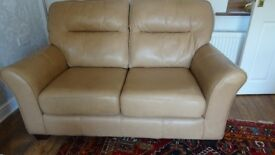 Beautiful G Plan Leather Sofa plus matching Chair and Footstool Reduced for quick sale