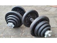 40KG CAST IRON DUMBBELL WEIGHTS SET - 2 x 20KG