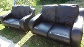 leather 2 seater sofas x 2 good condition in black