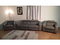 Elixir elephant grey leather electric recliner 3 seater sofa and 2 armchairs