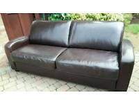 Dfs chocolate brown leather 3 seater sofa