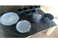 18PCS Round Porcelain Crockery Ceramic Dinner Tableware Set [Plates, Bowls, Cups] dark blue & black
