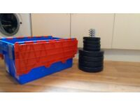 Weight plates, 4x5 kg and 4x1.25 kg and box