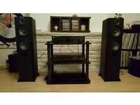 Cambridge audio amp, YamahaCDX 496, WharfedaleVr 300 and audio stand.,