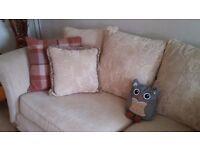 Three-seater cream fabric DFS sofa