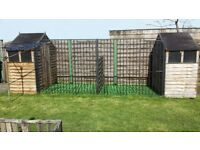 Twin Dog Kennel and Run. Two 6' x 3' sheds and two Dog Run Panels/Gates + more...