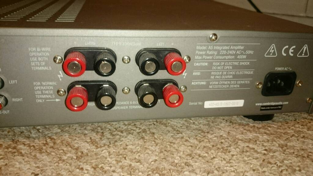 Cambridge Audio A5 amplifier.