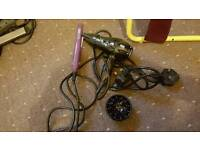 Travel hair straighteners and hair dyer