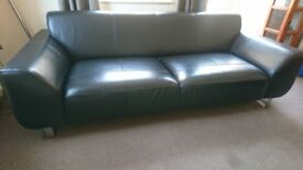 2 + aspect dfs 3 seater black leather sofa