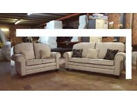 MONTANA HAND MADE 3+2 FABRIC SOFA IN HIGH QUALITY SPRING BASE AND FIRM FOAM SEATS BRAND NEW £449