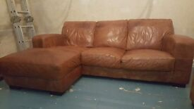 Leather 3 Seat Corner Sofa & Armchair