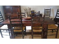 Solid oak dining table and 8 chairs