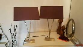 2 aubergine coloured lamps