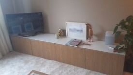 Ikea Besta x 2 ,TV /living room storage units, oak effect, with removeable white glass tops vgc