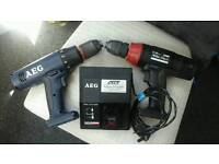 Two aeg / atlas copco/ millwalkee drills, body and charger only 18volt