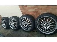 "18"" Alloys 5 x120 with tyres (good tread)"