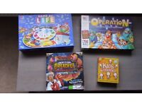 Operation, Game of Life, Kids Charades and Doctor Dreadful Scabs n' Guts Board Games