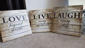 Pretty wall canvases - live, laugh, love