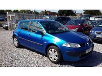Renault Megane 1390cc Petrol,Hatchback, Manual, Blue, 2005 (05) Full Mot.