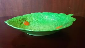 Pottery Green Lettuce Leaf Salad Plate Dish Bowl with Tomatoes
