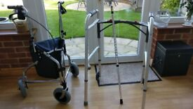 Disability Aid - Walker with fitted carry bag, zimmer frame and crutch