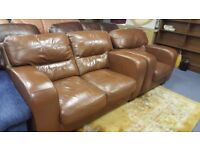 Tan Leather 2 Seat Sofa & Matching Chair