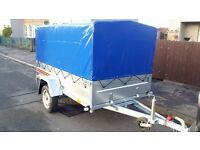 NEW Car trailers 7.7 x 4.1 and cover £700 inc vat certificate for left-hand traffic