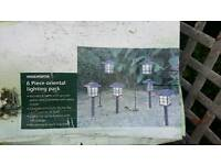 6 piece glass garden solar lights brand new