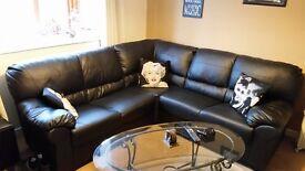 Black Leather Corner Suite 10 Months Old