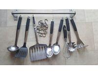 Set of kitchen utensils with hooks & hanging rail