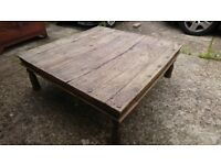 LARGE RUSTIC ANTIQUE COFFEE TABLE