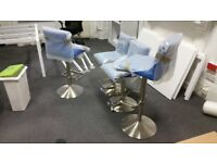 Bar stools, teal, brushed steel effect frame, adjustable height, excellent condition, x 4