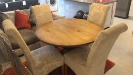 Rustic Round Solid Wood Table with 4 Cream Material Chairs