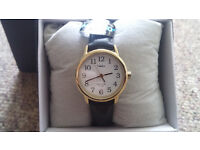 """Timex Women's T20433 """"Easy Reader"""" Gold-Tone and Black Leather Watch"""
