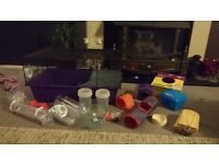 Used Hamster cage & accessories - food bowl, houses, ledges, wheels, etc