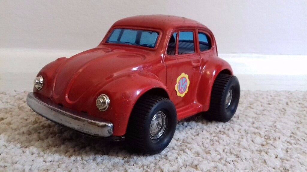Vintage Battery Operated VW Volkswagen Beetle Toy Car by Tora Japan