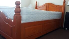 Solid wood double bed frame