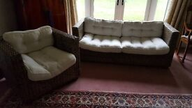 Cane furniture set (3 seater sofa + 1 chair)