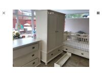 Nursery furniture cot bed / wardrobe / drawers and shelf