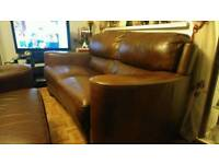 Italian leather 3 seater and 2 seater setees