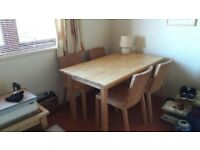 Dining table (pine) and four chairs