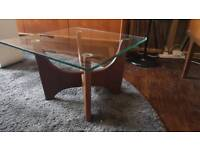 Small Vintage G Plan Astro style coffee table wood/glass 60s/70s/Mid Century Modern/retro