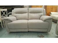 Ex Furniture Village 2 Seater Manual Recliner Sofa in Grey Saddle Leather **CAN DELIVER**