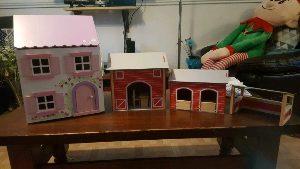Wooden dolls house and farm set