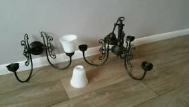Antique brass chandeliers and wall lights