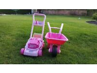 Little gardener lawnmower and wheelbarrow