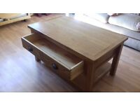 Solid Oak Coffee Table with Drawer