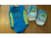 Baby wet suit 3-6months & 2x swimming nappies